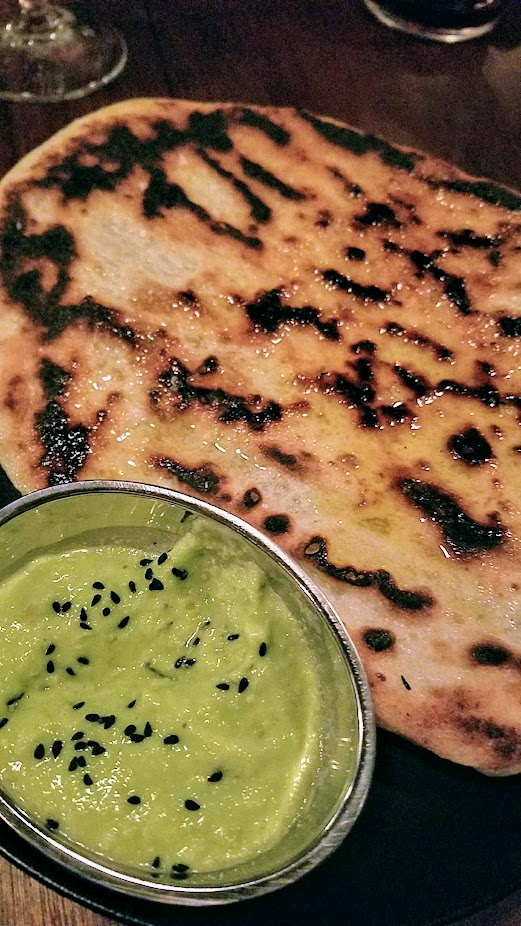 Bar Casa Vale, Grilled flat bread with green chickpea, and nigella seed