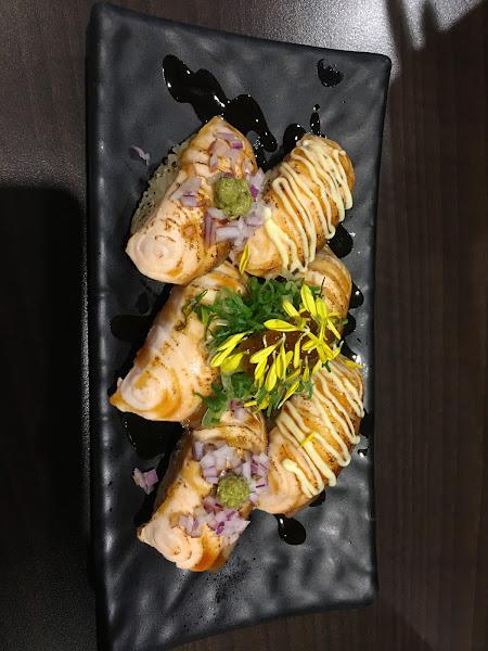 蔥花鮭魚捲 90 火紋身的鮭 180 黃金春捲 100 雙鮭炒飯 160 生牛肉沙拉 180  炒飯蠻不錯的 味道香粒粒分明在 鮭魚捲也好吃
