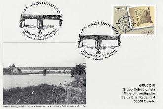 Photo: Matasellos del 150 aniversario del Puente Porto, o Príncipe Alfonso, en Vegadeo