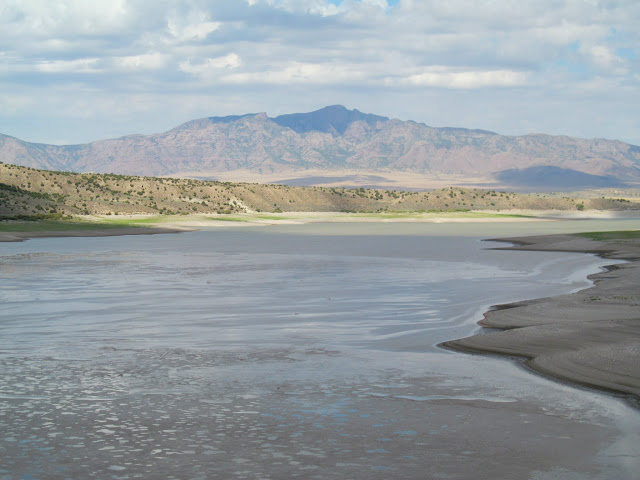 Transition between mud flat and the reservoir, with Fool Creek Peak on the horizon