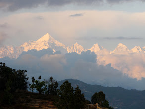 Photo: Sunset on Panchachuli Groupfrom Mukteshwar PWD GH