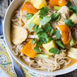 Slurpy Thai Curry Noodles with Chicken and Pineapple