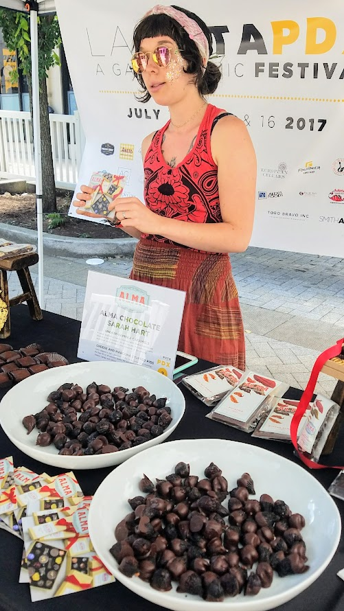 Photo Recap of Tastes of Spain, La Ruta PDX 2017, Alma Chocolate Sarah Hart who offered Smoked Paprika Caramels and Cheese and Marcona Stuffed Figs