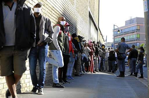 People queue outside the department of labour to apply for UIF benefits. Picture: GALLO IMAGES/NARDUS ENGELBRECHT