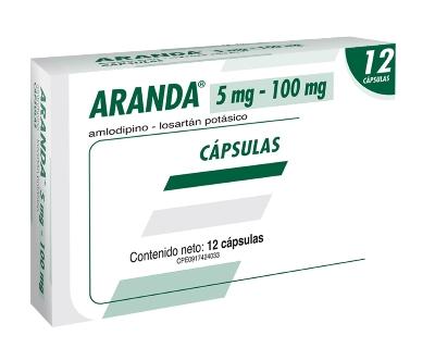 Amlodipina + Losartán Potásico Aranda 5/100mg x 12 Capsulas Producto de Laboratorios Farma. Tratamiento de la hipertensión arterial de leve a moderada, cuando la combinación sea apropiada.