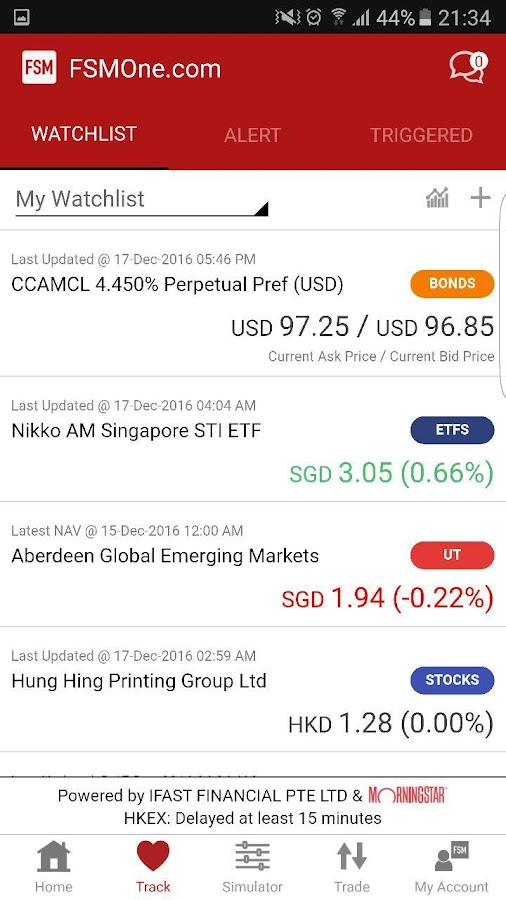 FSM Mobile - UT & Mutual Funds- screenshot
