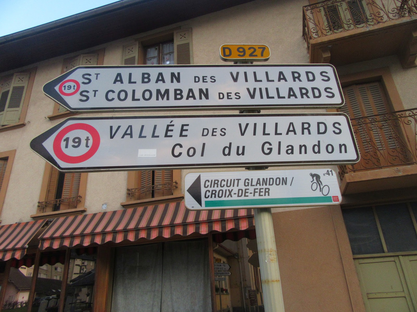 Bike climb of Col de la Croix de Fer, North - roadway sign at start