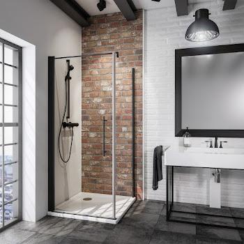 Porte de douche pivotante avec paroi de retour fixe, style atelier industriel, profilé noir, 80 ou 90 cm