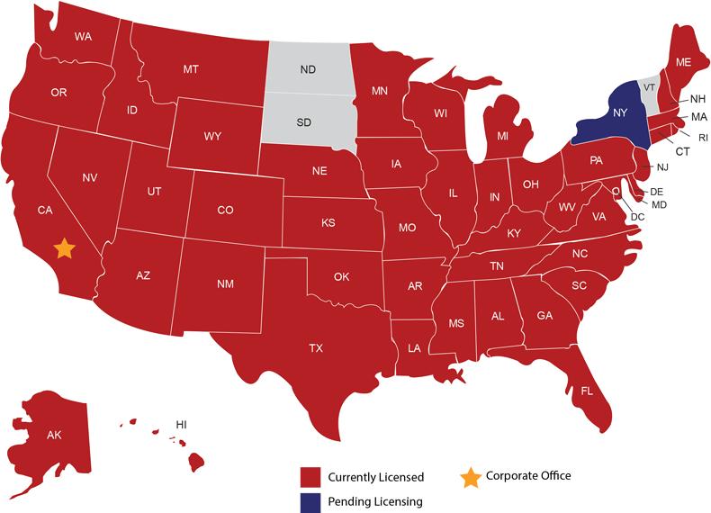 AFN map of licensed states