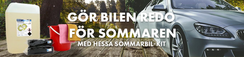 Gör bilen redo för sommaren med hessas sommarbil-kit! 25L bilschampo, 10L hink, 2 svampar, 2 mikrodukar