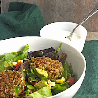 Southwest Lentil Patties with Creamy Lime Dressing