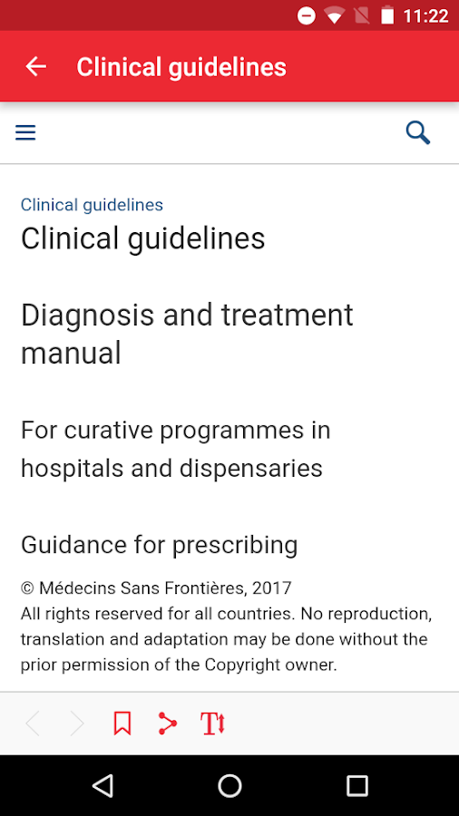 MSF Medical Guidelines: screenshot