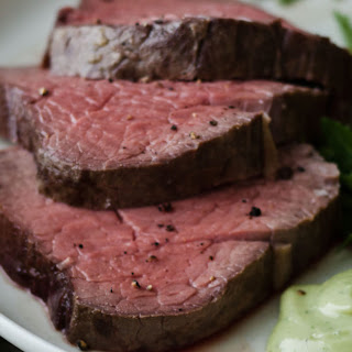 Slow-Roasted Filet of Beef with Basil Parmesan Mayonnaise.