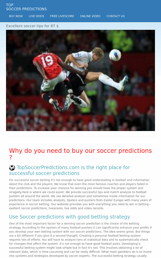 Soccer Predictions- screenshot
