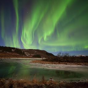 Ice and aurora by Benny Høynes - Landscapes Starscapes ( moon, bennyhøynes, cold, mk2, ice, aurora, frozen )