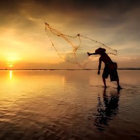Throw the nets by Made Suwita - People Street & Candids ( bali, pwcsilhouettemotion, indonesia, silhouette, candid, beach, fisherman, people, sun )