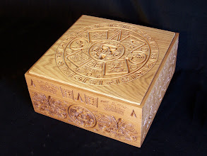 Photo: Something a bit different: a custom oak memory/keepsake box carved with elements of the well known Mayan Calendar. Box crafted from circa 20mm thick solid oak with a oil/wax finish. Dimensions approx' 340 x 340 x 150mm.