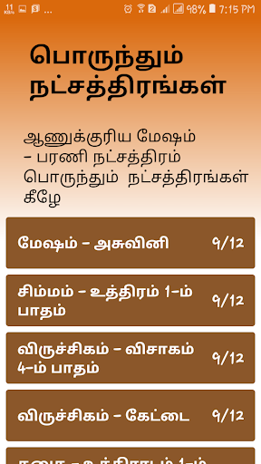In marriage tamil name for matching Tamil Horoscope