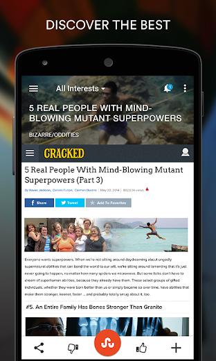 Screenshot 1 for StumbleUpon's Android app'
