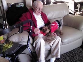 Photo: Bob wrestling with Harvey (Yorkie)