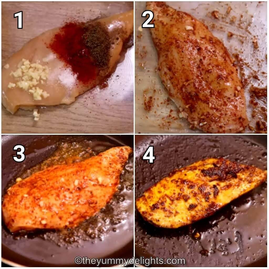 step by step image collage of making grilled chicken for club sandwich.
