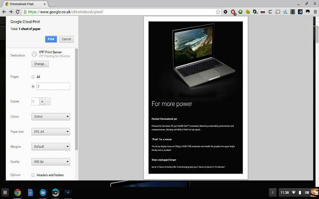IPP / CUPS printing for Chrome & Chromebooks chrome extension