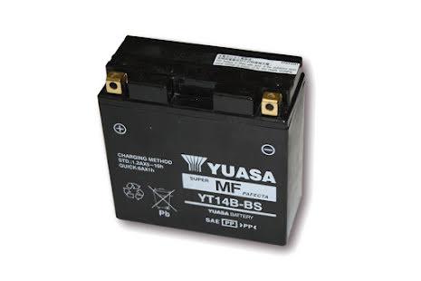YUASA MC-batteri YT 14 B-BS (YT 14 B-4) underhållsfritt (AGM) inkl. syrapack