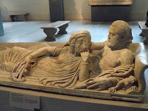 Photo: Sarcophagus lid with reclining couple.  Imperial, Severan, ca. A.D. 220.  Roman. Marble.  http://www.metmuseum.org/Collections/search-the-collections/130016671