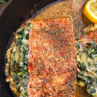 Mascarpone & Spinach Stuffed Salmon.