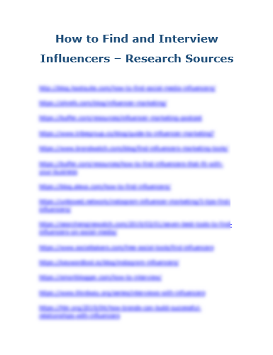 How to Find and Interview Influencers - Research Sources