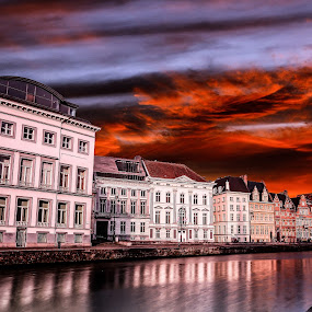 Graslei and Korenlei by Aamir DreamPix - City,  Street & Park  Historic Districts ( clouds, building, graslei and korenlei, riverside, sunset, buildings, cannel, belgium, boat, river, ghent,  )