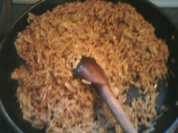 3.  Mix the rice and ground beef together.