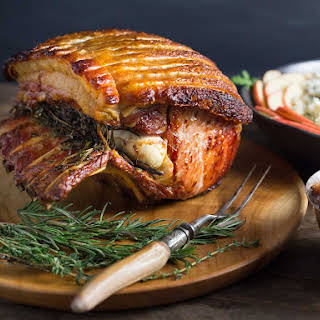 Garlic and Herb Roasted Pork Loin with Crackling and Spiced Apple Chutney.