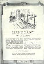Photo: ad from the Mahogany Association. Most of the ads and decorating photos in this issue feature Early American or Colonial stylings.