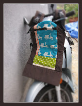 """Photo: """"Blue Scooters"""" customized Beco Butterfly II with espresso straps used 2 pieces of fabric"""