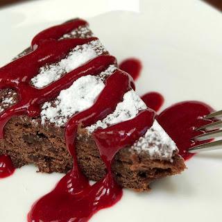 Chocolate-Raspberry Brownie Cake.