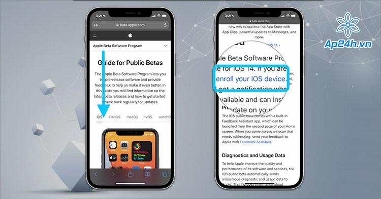 Chọn iOS ở trang Apple Beta