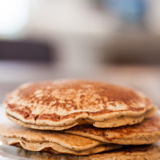 Healthy Oat and Sprouted Wheat Pancakes.