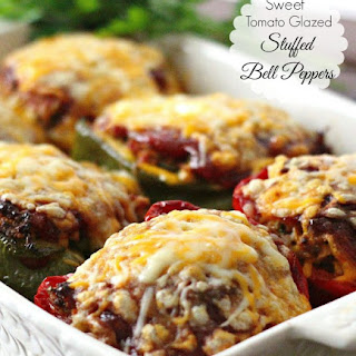 Sweet Tomato Glazed Stuffed Bell Peppers