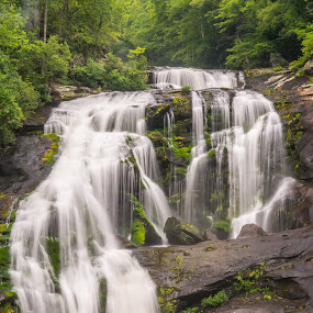 Bald River Falls by Drew Campbell - Landscapes Waterscapes ( bald river falls, mountains, waterfall, rivers )