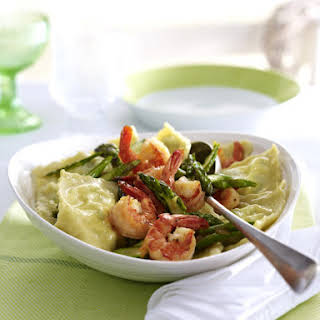 Asparagus Ravioli with Sautéed Shrimp.