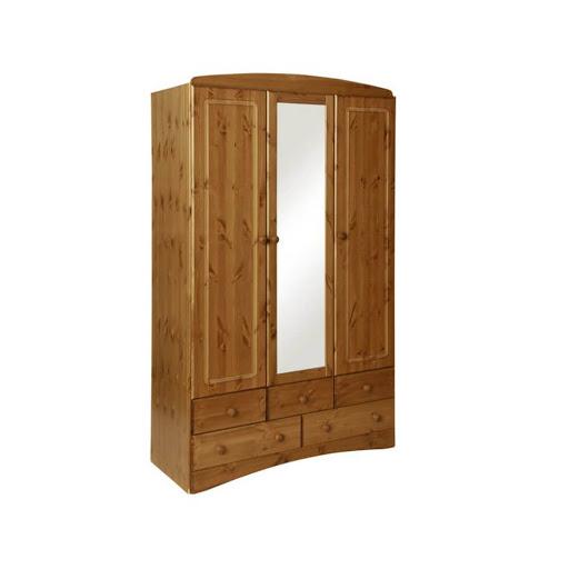 Scandi Pine 3 Door 5 Drawer Robe