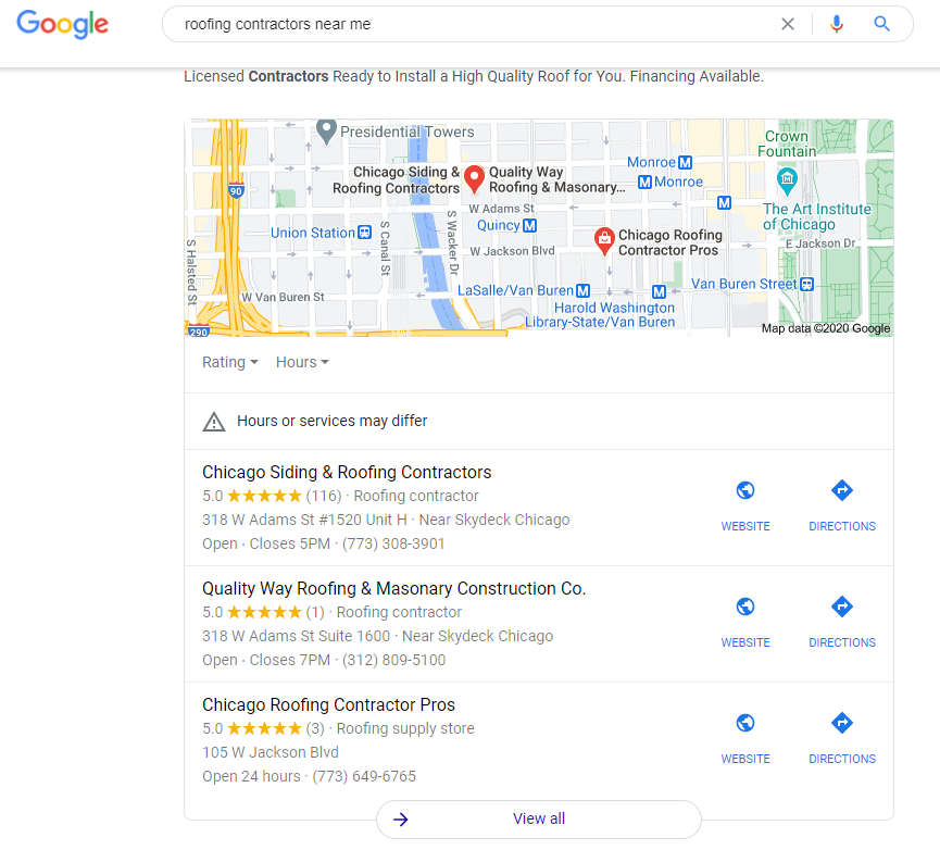 screenshot of a local map pack with roofing listings to highlight the importance of Google My Business as an SEO trend in 2021