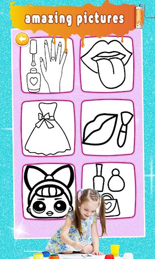 Glitter Nail Drawing Book and Coloring Game screenshot 2