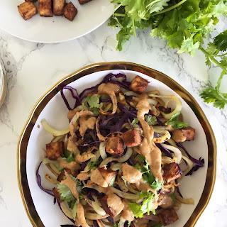 Thai Peanut Sweet Potato Noodles with Roasted Tofu.