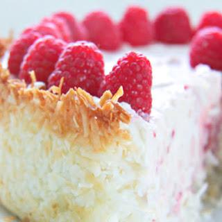 Keto Raspberry Cheesecake with Coconut Crust.