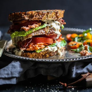 Sesame Roasted Salmon BLT with Kimchi Yogurt Dressing