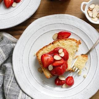 Toasted-Almond Poundcake With Strawberry-Rhubarb Compote