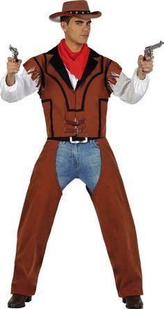 Vous aimez le cuir, la poussière et l'odeur de la poudre ?! Alors rendez-vous directement dans le far west avec ce déguisement de Cow-Boy américain pour homme et son pantalon simili cuir !