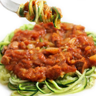 Zoodles with Sausage Pasta Sauce (Gluten-free, Paleo).
